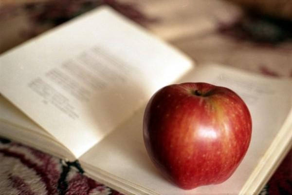 Книга с яблоком